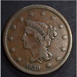 1839 BRAIDED HAIR LARGE CENT, VF