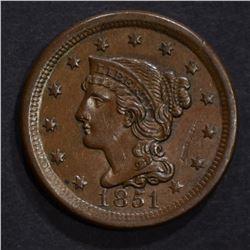 1851 LARGE CENT, AU scratch