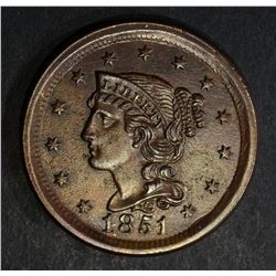 1851 LARGE CENT  CH BU