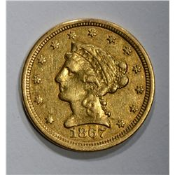 1867-S $2 1/2 GOLD LIBERTY  AU