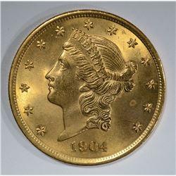 1904 $20 GOLD LIBERTY  GEM BU+