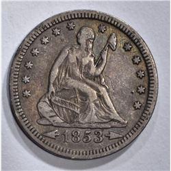 1853 ARROWS & RAYS SEATED LIBERTY QUARTER XF
