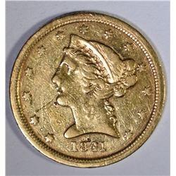 1841 C $5.00 GOLD LIBERTY  XF