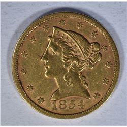 1854 $5.00 GOLD LIBERTY  AU+