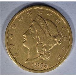 1863-S $20.00 GOLD LIBERTY  AU