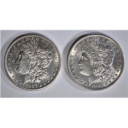 1887-S AU+, & 1896 BU MORGAN DOLLARS