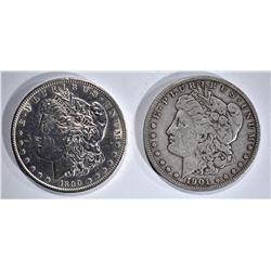 1890-S AU & 1901-S VF MORGAN DOLLARS