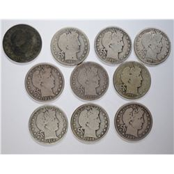 10-BARBER HALF DOLLARS FULL RIM GOODS