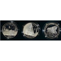 3 PIECE PROOF SILVER DOLLARS SET