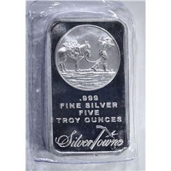 FIVE OUNCE .999 SILVER BAR ( SILVERTOWNE )