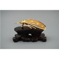 Golden Cicada Brooch