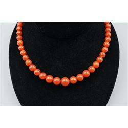 Nanjiang Red Agate Bead Necklace