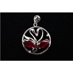 "K Gold ""Swan"" Pendant Inlaid with Ruby"