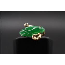 "18K Gold Inlaid with Diamonds and Jadeite ""Fish"" Ring"
