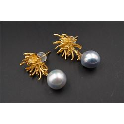 A Pair of 18K Gold Inlaid with Japanese Blue Akoya Pearl Earings