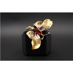 """18K Gold """"Butterfly"""" Ring Inlaid with Diamonds and a Large Ruby"""