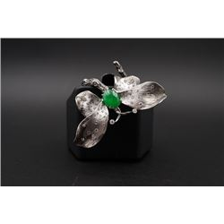 """18K Gold """"Butterfly"""" Ring Inlaid with Diamonds and Jadeite"""
