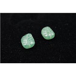 "A Group of Two ""Leaf"" Shape Jadeites"