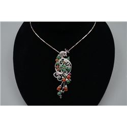 """Silver Inlaid with Jadeites and Diamonds """"Peafowl"""" Pendant and 925 Silver Necklace"""