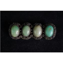 Middle Qing Dynasty Brooch Inlaid with Turquoise
