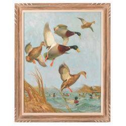 Arthur Davenport Fuller Mallard Ducks Oil Painting