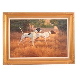 Bird Dogs Oil Painting by Julie Jeppsen