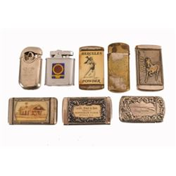 Collection Of 8 Advertising Match Safes