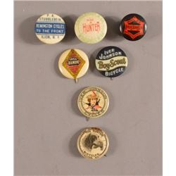 7 Antique Bicycle Advertising Pinback Buttons