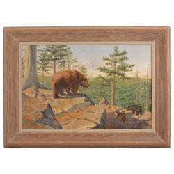L. L. Pray Wildlife Painting Dated 1914