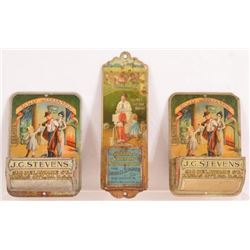 3 Advertising Lithographed Tin Match Holders