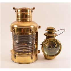 2 Antique Brass Marine Lanterns