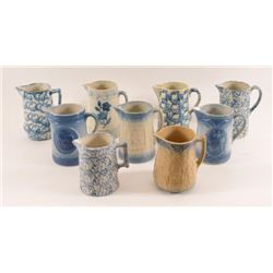 Collection Of 9 Blue Spongeware Pitchers
