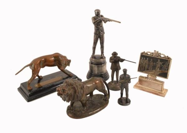Collection Of 6 Trap Shooting Trophies & Toppers