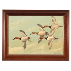 Edgar Burke Ducks In Flight Pair Of Oil Paintings