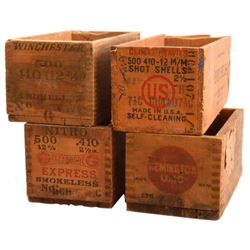 Collection Of Four Wooden Ammo Crates Winchester