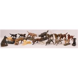 Collection Of 18 Hunting Dog Figurines Statues