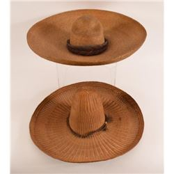 2 Antique Straw Sombreros