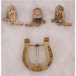 3 Edward H Bohlin Neck Tie Rings & Renalde Buckle