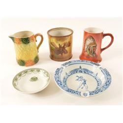 Collection Of 5 Porcelain Hunting Motif Items