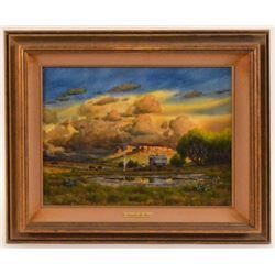"Donald Yena Watercolor ""Sheepherder At Waterhole"""