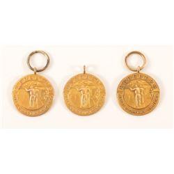 3 Hercules Powder Gold Shooting Medals 1915-1916