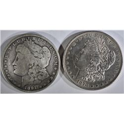 1878 7/8TF AU & 1891-CC VG CLEANED MORGAN DOLLARS