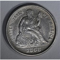 1868-S SEATED LIBERTY DIME XF