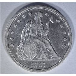 1847 SEATED DOLLAR  AU+