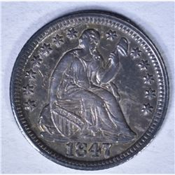 1847 SEATED LIBERTY HALF DIME BU