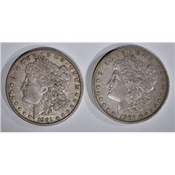 1891 & 1900-S ORIGINAL XF MORGAN DOLLARS