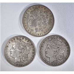 1883-S, 91-O & 1898-S ORIG XF MORGAN DOLLARS