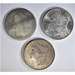 1878 AG, 85 BU & 1903 AU/UNC MORGAN DOLLARS