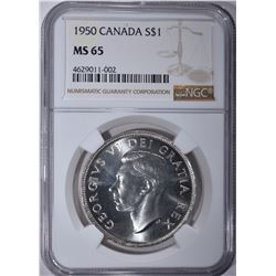 1950 CANADA SILVER DOLLAR NGC MS 65