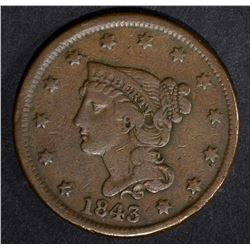 1843 LARGE CENT VERY FINE